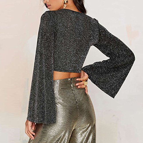 QIYUN.Z Femmes Sexy Mini-Cultures Reservoir Cru Outfit Manches Flare Gris Lacets Tops Chemises Gris