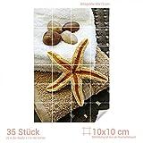 Graz Design 761032_10x10_50 Fliesenaufkleber Fliesensticker Sticker für Badezimmer Seestern Steine Handtuch (Fliesenmaß: 10x10cm (BxH)//Bild: 50x75cm (BxH))