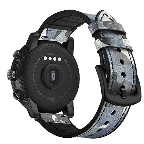 AISPORTS For Ticwatch Pro Strap Leder Silikon Gummi Hybrid 22 mm Damen Herren Armband Armband Ersatz Band für Amazfit Stratos 2/2S, Ticwatch Pro, Samsung Galaxy Watch 46 mm/Gear S3 blau camouflage