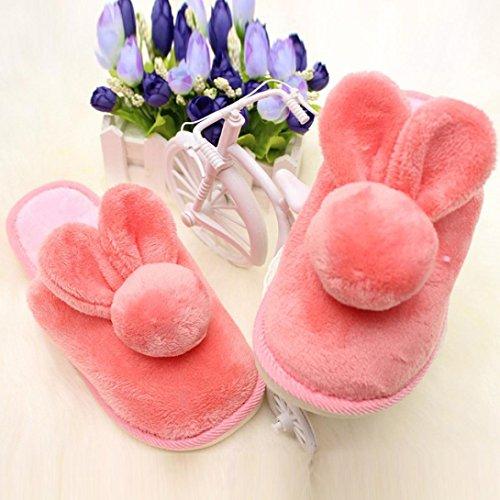 Per Donna,Amlaiworld Coniglio in cotone antiscivolo inverno pantofole Rosa