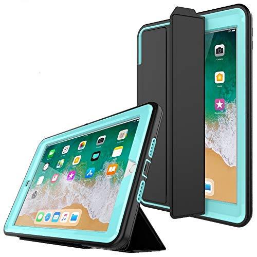 PROTECK Coque iPad Air 2, Etui avec【Film de Protection Intégré】+【Mise en Veille Automatique】+【Antichoc】- Bleu