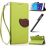 BtDuck Brieftasche Leder Hülle Grün für Sony Xperia M4 Aqua Tasche, Blume PU Leder Stand Tasche Wallet Cover Etui Silikon Schutzhülle Briefcase Lederhülle Stand Tasche