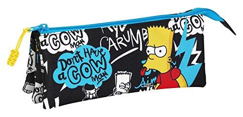 The Simpsons- Estuche portatodo Triple, Color Negro (SAFTA 811605744)