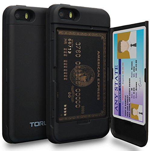 TORU CX PRO iPhone SE Hülle Kartenfach mit Verstecktes Ausweis-Slot Kreditkartenhalter und Spiegel für iPhone SE/iPhone 5S / iPhone 5 - Matt Schwarz