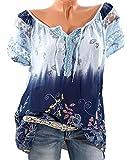 DoubleYI Damen Blumen Spitze Tops Frauen Kurzarm V-Ausschnitt Spitze Gedruckte Lose T-Shirt Bluse Oberteile Tees Shirt (L, BU)