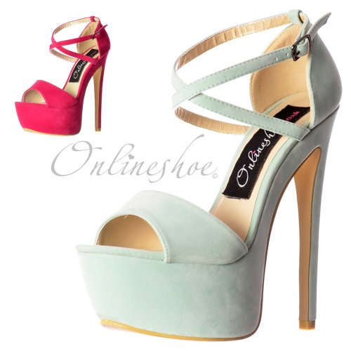 Onlineshoe, Damen Pumps  Rosa Menthe Suede UK8 - Eu41 - Us10 - Au9