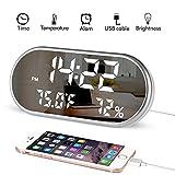 Digital-Wecker, tragbarer Spiegel HD LED-Anzeige mit Zeit- / Feuchtigkeits- / Temperatur- /...