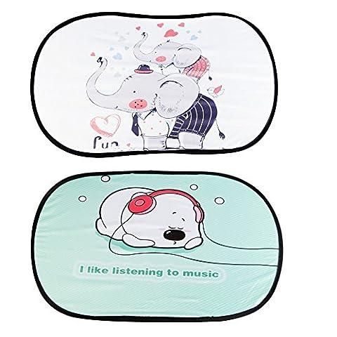 Car Sunshades for Children, KAKIBLIN Easy-on & Easy-off Cartoon Sunscreen Insulation Sunshades for Babies, Hi Elephant+Happy Dog(2 Packs)