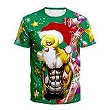 TUWEN Costume Natalizio Perche ' Anime Muscolare Mans Camicia Corta Manica T-Shirt