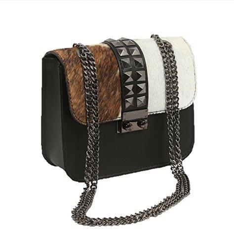 Oktradi® Handtasche Damen Henkeltasche Umhängetasche Ledertasche mit Kette made in Italy (L x B x H)18x 15 x 7 cm (Schwarz/weiß/braun) (Gucci-handtasche, Schwarz Und Weiß)