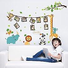 UniqueBella Pegatinas de Pared Vinilo Infantil Decorativo Adhesivo Decoración para Hogar Habitación de Niños Paraíso de Animales con Álbumes