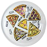 Set aus 4 Stück Pizzateller Frühstücksteller aus echtem Porzellan Ø 300 mm mit interessantem Pizza-Sorten-Dekor