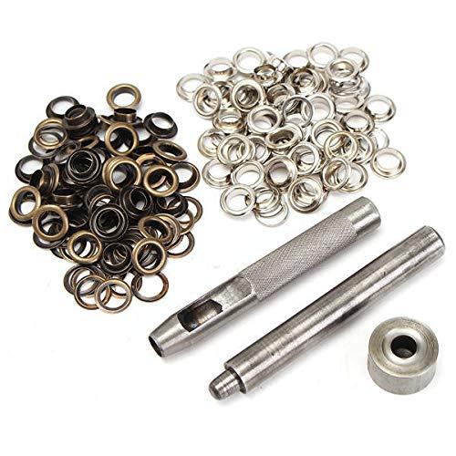 KUNSE 100 Stück 8Mm Kupfer Ösen Hollow Leder Craft Belt Punch Tools Kit -