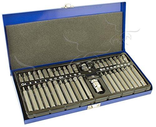 Juego de 40 + 2 Bits Torx, Hex y XZN Spline en maletín de aluminio. Puntas para atornillar