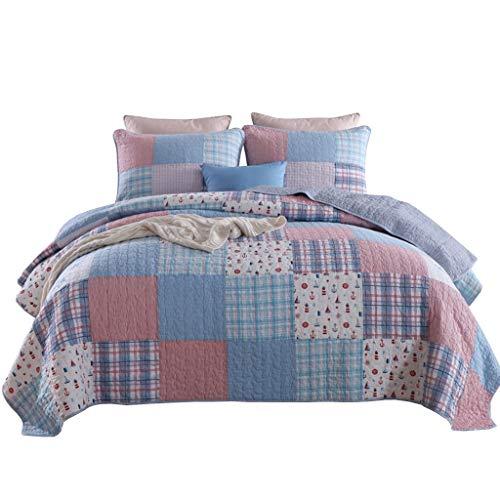 QINJLI Patchwork Plaid Handmade Bettdecke Steppdecken Set 3 stück Leichte Baumwolle Weiche Hypoallergene Atmungsaktive Decke Bettwäsche Mehrzweck All Season 230×250cm -