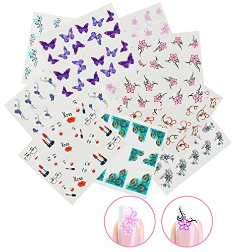 Nicedeco 15x Nagel Sticker Wrap Wasser Transfer Aufkleber Tattoo Tips Idee als Nail Art/Phone Case/Einladungskarten Dekoration TYP 4 (Idee Tattoo)