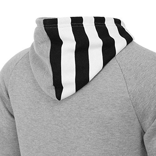AIRAVATA Herren Vlies Schwergewichts-Zip-up Langarm Streifen Kapuzenpullover US Größen Grau