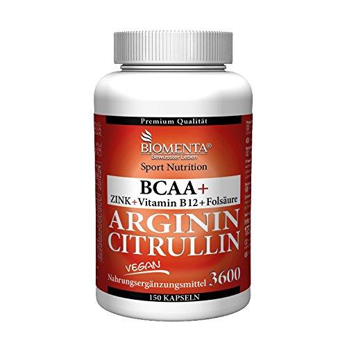 "BIOMENTA 3.000 mg L-ARGININ BASE + 620 mg L-CITRULLIN MALAT + 1.000 mg BCAA | 150 VEGANE ARGININ CITRULLIN KAPSELN | OHNE TRENNMITTEL ODER SONSTIGE ZUSÃ""TZE"