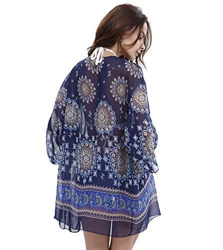 Lonior Damen Sommer Maxi Chiffon Cardigan Cover Up Mit Kimono Stil Strandkleid Bikini Cover Up Blue