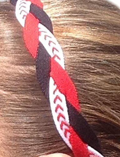 IT'S RIDIC! Damen Kein Beleg Grip/Non-Slip Sport/Sport Nylon Drei Geflochtene Sport Stirnband Einheitsgröße Red | schwarz | Weiß mit roten Nähten
