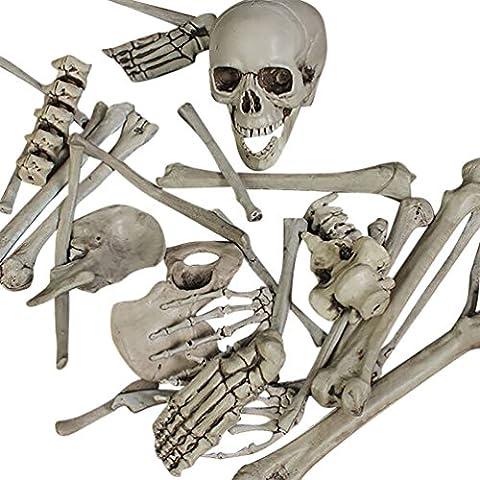 YOUJIA Scattered Bones Skull Scary Life Size Human Skeleton Halloween Props Bar Garden Outdoor Decorations
