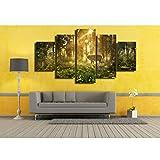 Ruifulex Ölgemälde auf Leinwand, 5 stücke Kunst Wandmalereien Schlafzimmer Wohnzimmer Hintergrund Wanddekor, Sonnenschein Wald Elch 30 * 50 cm * 2 30 * 70 cm * 2 30 * 80 cm * 1 rahmenlose