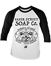 80faa42d836c0 Fight Club Officially Licensed Paper Street Soap Company Baseball Long  Sleeve T-Shirt (White
