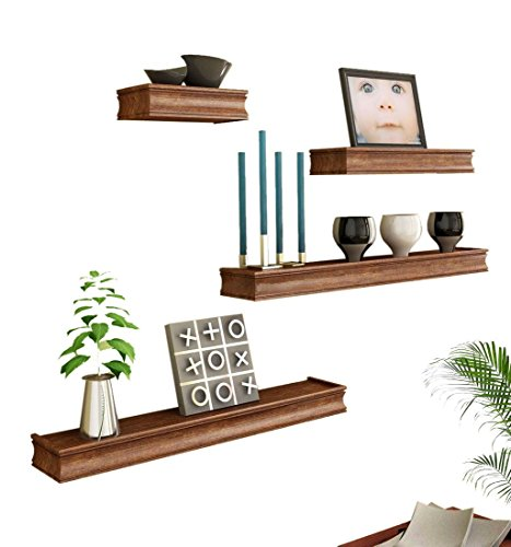 Brown Wooden Wall Shelf Set Of Four/ Display Rack Shelf For Home Décor  available at amazon for Rs.995