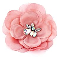 Acosta Brooches - Pink Satin & Organza - Large Fabric Corsage Flower Brooch - With Gift Bag