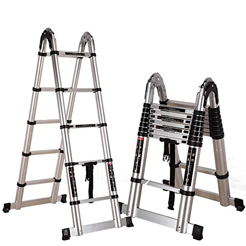 J&A Leiter, DIY Doppelte Ausziehbare Faltbare Leiter, 3.2m Teleskopische Aluminiumbewegliche Vielseitige Leiter, Schritt 2 * 5 Mit Anti-Beleg (Belastbarkeit 150kg/330 Lbs) (Größe : 3.8M)