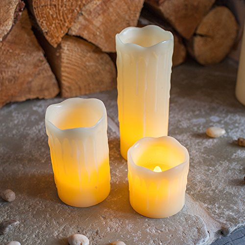 Conjunto de 3 velas de LED de cera natural en bandeja decorativa redonda de Lights4fun