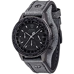 Detomaso Firenze Men's Quartz Watch with Retro Black Forza Di Vita Chronograph Quartz Leather DT1073 °C