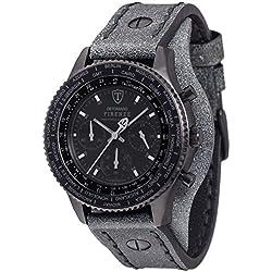 Detomaso Firenze Men's Quartz Watch with Retro Black Forza Di Vita Chronograph Quartz Leather DT1073°C