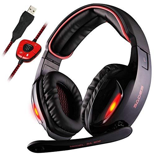 Casque Gaming, Sades SA902 Over-Ear USB Casque Gaming Headset, Son Surround Virtuel 7.1, Casque Gamer avec LED Lumière Contrôle de Volume et Microphone Numérique Amélioré pour PC(Rouge)