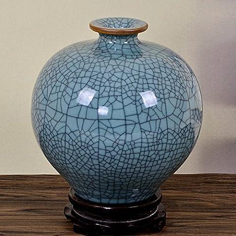 GJMDHP four de céramiques céladon vase antique ouverture de fissure / classique bijoux salon ameublement décoration,grenade vase