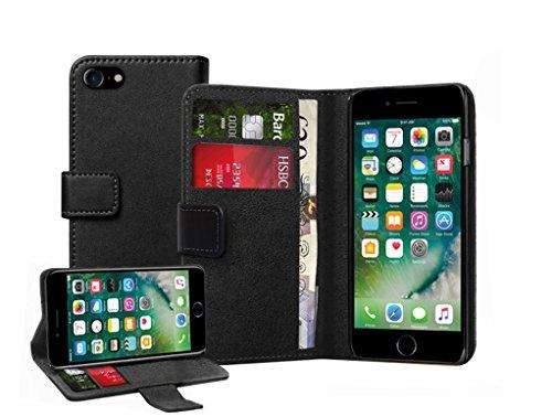 Membrane Coque Apple iPhone 7 Plus Etui Noir Portefeuille Flip Wallet PU Cuir Case Cover Housse Wallet Cuir