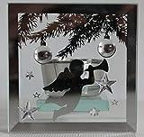 Weihnachten Spiegel-Teelichthalter mit Engel in silber aus geschliffenem Glas