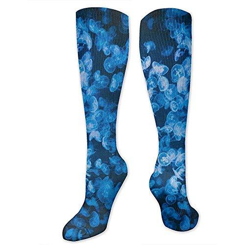 PPPPPRussell Socks Kompressionssocken für Frauen und Männer - Bester Strumpf für Reisen, Mutterschaft, Laufen, Sport und Krampfadern - Deep Sea Jellyfish Blue