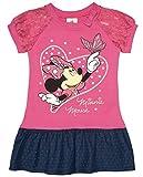 Disney Super Süsses Minnie Mouse Mädchen Jeans-Kleid mit Spitzen-Ärmel Größe 86 92 98 104 110 116 aus Jeans- Baumwolle erstklassige Qualität 1 2 3 4 5 Jahre Farbe Pink, Größe 104