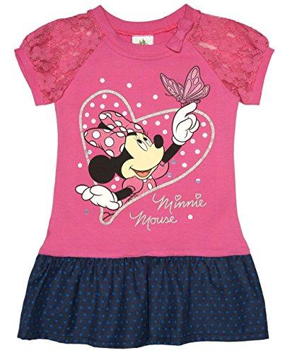 Super Süsses Minnie Mouse Mädchen Jeans-Kleid mit Spitzen-Ärmel Größe 86 92 98 104 110 116 aus Jeans- Baumwolle von Disney erstklassige Qualität 1 2 3 4 5 Jahre Farbe Pink, - Minnie Maus Kostüm Mit Jeans