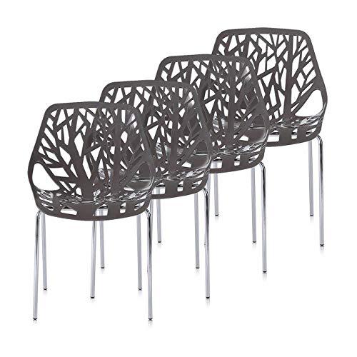 Makika Retro Stuhl Design Stuhl Esszimmerstühle Bürostuhl Wohnzimmerstühle Lounge Küchenstuhl Sitzgruppe 4er Set aus Kunststoff mit Rückenlehne CALUNA in Grau