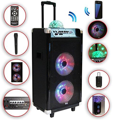Karaoke Anlage mobile PA Lautsprecherbox Trolley USB SD MP3 Wirless LED DMS®
