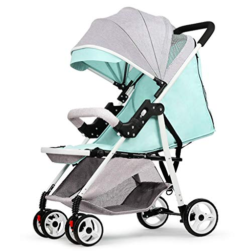 BLWX - La lumière Peut s'asseoir inclinable Poussette Pliante Amortisseur Chariot bébé Poussette Enfant Voiture Wagon léger Poussette (Couleur : Green)