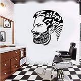 ONETOTOP Adesivo da Parete Barbiere Adesivi murali Removibili Uomo Parrucchiere Stile Vinile Rimovibile Arte Arredamento Carta da Parati 42 * 46 cm