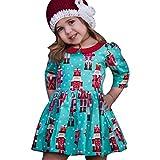 Longra Kleinkind Baby Kinder Mädchen Karikatur Prinzessin Party Kleid Outfits Kleidung Mädchen Langarm Weihnachten Festlich T-shirt-Kleid(2-6Jahre) (90CM 3Jahre, Blue)