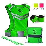 EvoLike Premium Warnweste im einzigartigen Design; für Laufen, Spazieren, Radfahren, Joggen, Motorradfahren; mit Tasche + 4hochsichtbaren Armbändern, grün, S/M