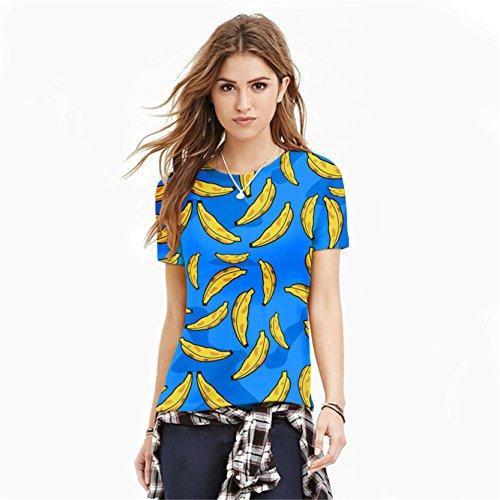 Jiayiqi Unisex Funky Digitaldruck T-Shirt 3D Grafik Kurzarm T-Shirts Banane