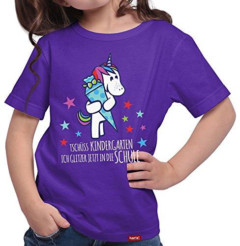 HARIZ  Mädchen T-Shirt Tschüss Kindergarten Einhorn Einschulung Schulanfänger Geschenk Gratis Geschenkkarten Lila 152/12-13 Jahre