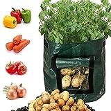 Yeying123 3-Pack Grow Bolsas de Tela de aireación macetas DIY Patatas plantadoras Bolsas con Solapa para Cultivar Verduras: Patata, Zanahoria y Cebolla,7gallons34x35cm