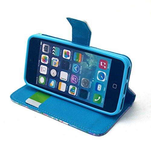 Coque pour Apple iphone SE 5 5S,Housse en cuir pour Apple iphone SE 5 5S,Ecoway Colorful imprimé étui en cuir PU Cuir Flip Magnétique Portefeuille Etui Housse de Protection Coque Étui Case Cover avec  C-8